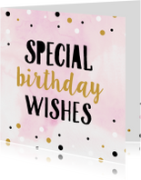 Verjaardagskaarten - Verjaardagskaart waterverf confetti