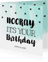 Verjaardagskaarten - Verjaardagskaart waterverf mintgroen zwarte driehoekjes