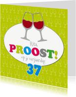Verjaardagskaarten - Verjaardagskaart wijnglazen - S
