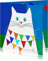 Verjaardagskaarten - Verjaardagskaart witte kat met feestvlaggetjes
