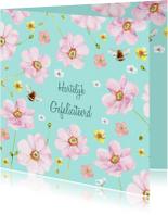 Verjaardagskaart Zachte roze bloemen
