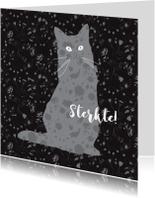 Condoleancekaarten - Verlies Poes silhouette met bloemetjes patroon