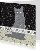 Condoleancekaarten - Verlies Poes - silhouette met kantje