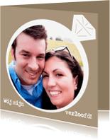 Trouwkaarten - Verlovingsring wij zijn verloofd