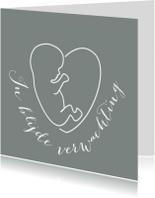 Felicitatiekaarten - Verweven hart-kindje en tekst op hout