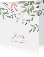 Geboortekaartjes - Vierkant geboortekaartje met groene en roze takjes