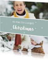 Vierkante kerstkaart met fotocollage en sneeuwvlokjes