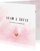Trouwkaarten - Vierkante trouwkaart met roze waterverf
