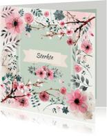 Sterkte kaarten - vintage bloemenkaartje