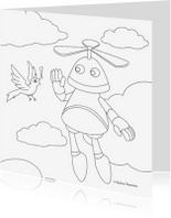 Kleurplaat kaarten - vliegende robot