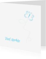 Condoleancekaarten - Vlinder condoleancekaart blauw