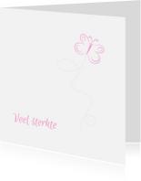 Condoleancekaarten - vlinder roze condoleancekaart