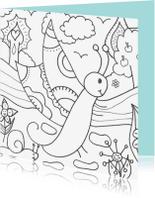 Kleurplaat kaarten - Vlinder vliegt