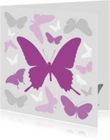 Condoleancekaarten - Vlinders paars met grijs