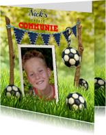 Communiekaarten - Voetbal Communie foto stoer