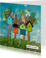Verhuiskaarten - Vogelhuisjes verhuiskaart
