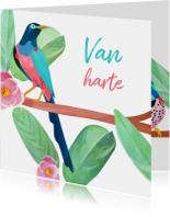 Verjaardagskaarten - Vogels & bloemen felicitatie
