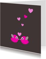 Felicitatiekaarten - Vogeltjes met hartjes
