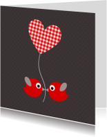 Felicitatiekaarten - Vogeltjes met ruitjesballon
