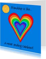 Vriendschap kaarten - Vriendschap is... met regenboog