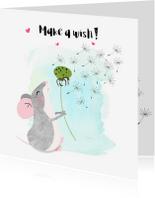 Vriendschap kaarten - Vriendschapskaartje muis met paardenbloem - SD