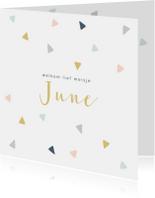 Geboortekaartjes - Vrolijk geboortekaartje met gekleurde driehoekjes