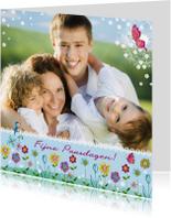 Paaskaarten - Vrolijk Pasen Bloemen Rand Foto Lente