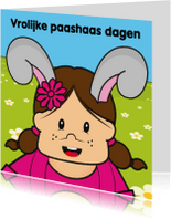 Paaskaarten - Vrolijk pasen paashaas bloemen 32