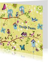 Paaskaarten - Vrolijk Pasen PAASTAK vlinders LENTE