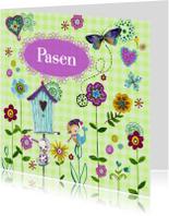 Paaskaarten - Vrolijk Pasen Vogelhuisje vlinders LENTE