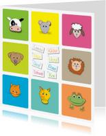 Kinderkaarten - vrolijke dierenkaart met dierennamen