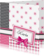Geboortekaartjes - vrolijke geboortekaart 91 strik