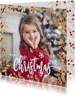 Kerstkaarten - Vrolijke kerstkaart foto kersttakken