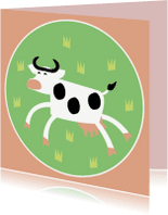 Dierenkaarten - Vrolijke koe in wei