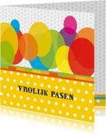 Paaskaarten - vrolijke paaskaart 02 eieren stippen