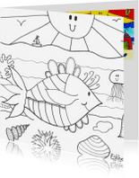 Kleurplaat kaarten - Vrolijke vis in de zee