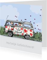 Felicitatiekaarten - VW bus hartjes Anet Illustraties