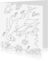 Kleurplaat kaarten - Water Dinos