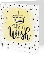 Verjaardagskaarten - Watercolor wenskaart verjaardag