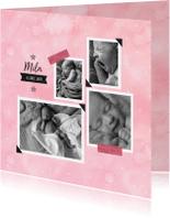 Geboortekaartjes - Waterverf collage fotokaart pastel roze
