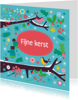 Kerstkaarten - Winterse boomtak met vogels 1