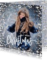 Kerstkaarten - Winterse kerstkaart met sneeuw en sterretjes