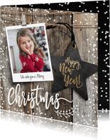 Kerstkaarten - Winterse kerstkaart vierkant ster