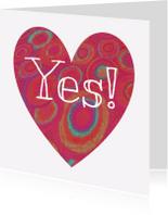 Felicitatiekaarten - Yes Hart Rood - AW