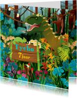 Verjaardagskaarten - YVON dinosaurus jongenskaart uitnodiging