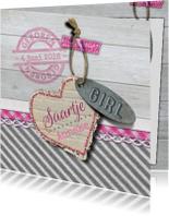 Geboortekaartjes - YVON geboorte label hout meisje