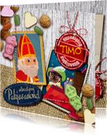 Sinterklaaskaarten - YVON hout zak van sinterklaas