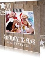 Zakelijke kerstkaarten - Zakelijke kerstkaart foto houtprint - LB