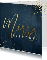 Zakelijke kerstkaarten - Zakelijke kerstkaart grof blauw met goud