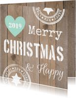 Zakelijke kerstkaarten - zakelijke kerstkaart hout hartje mintgroen